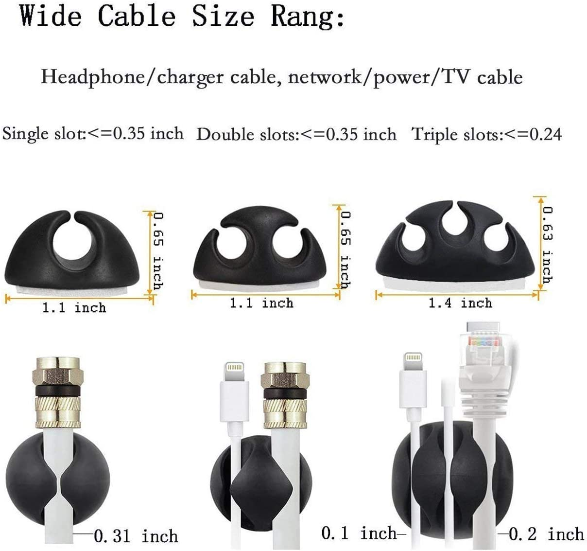 Charging and Mouse Multipurpose 12 Pack Black Cable Clips Viaky Wire Management for Your Wires Self Adhesive Cord Holders Desk Cable Organizer Tachograph Cord Earphone line Computer