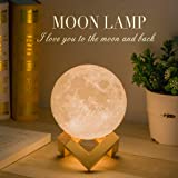 Balkwan Moon Lamp 3D Printing 4.7 inches Moon Light Dimmable with Touch Control, Rechargeable Lunar Light Home Decorative Night Light for Romantic Gift (4.7 inches)