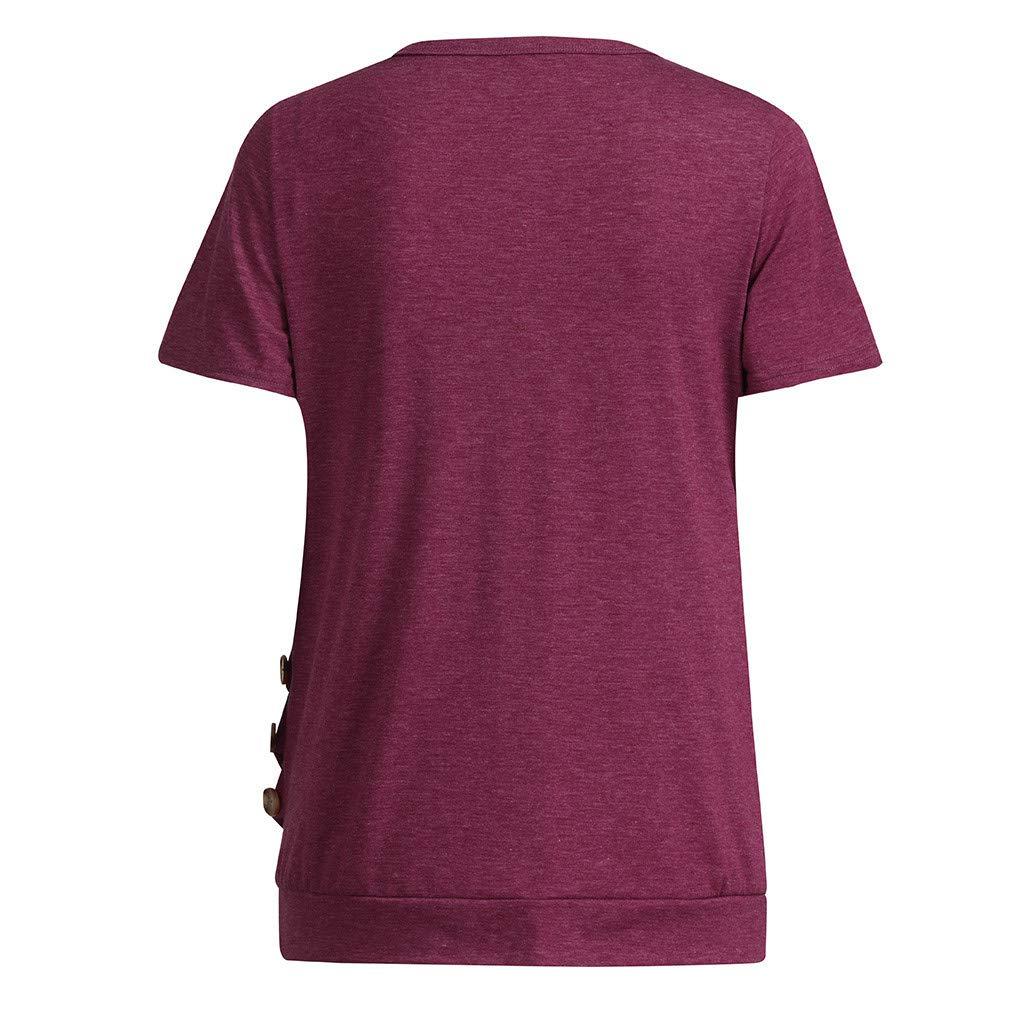 Womens Maternity Clothes Nursing Tops Short Sleeve Breastfeeding T-Shirt