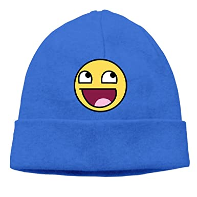 Men Women Funny Awesome Epic Face Beanies Cotton Wool Caps Hats Fits Most  RoyalBlue 489a743f1