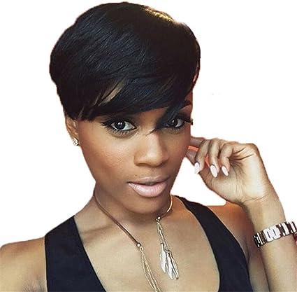 Sawig Court Noir Droit Duveteux Coupes Cheveux Synthetique Court Perruques Pour Noir Femmes Naturel Court Cheveux Perruques 10 90g Amazon Fr Sports Et Loisirs