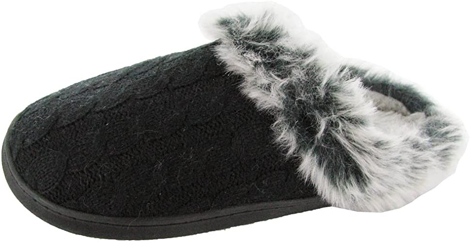 Renaissance Womens Cozy Faux Fur Plush Slipper Shoe