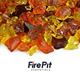 Golden Harvest - Crushed Fire Glass Blend for Indoor and Outdoor Fire Pits or Fireplaces | 10 Pounds | 3/8 Inch - 3/4 Inch
