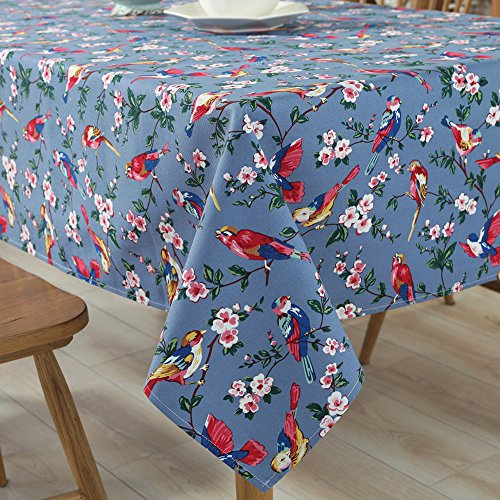 Tina Cotton Vintage Bird Floral Print Tablecloth Table Cover Machine Wasable for Kitchen Dining Living Room Blue, 52×70″