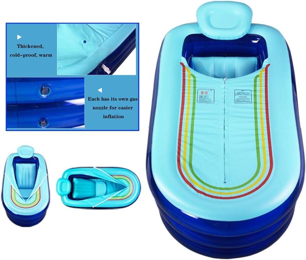 ABMOS Bañera Inflable Bañera para el hogar para Adultos Bañera Inflable de un Solo Engrosamiento Bañera Plegable para Adultos con bañera basculante Cómoda Inflable -168 * 78 * 45CM Azul