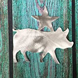 Pig with Star Christmas Tree Topper, Rustic, Country Christmas, Wreath Decoration, Holiday Decoration, metal