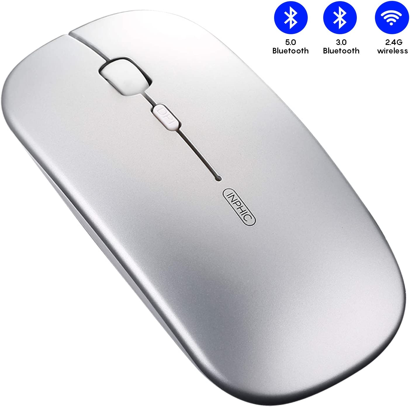 mouse para iPad MacBook Laptop Android Tablet, plateado