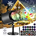 Christmas Projector Lights, AGPTEK LED Lights No Slides Upgraded 2-in-1, 13 Water Wave & Moving Patterns, Remote Control, Waterproof for Outdoor Indoor Easter Halloween Party Garden Decoration