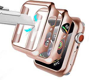 AloMit Screen Protector for Apple Watch 40mm Series 4/5/6/ SE Tempered Glass [2 Pack] [Full Coverage] Bumper Hard Case [with Screen Protector Built-in] Overall Protective Cover-Rose Gold