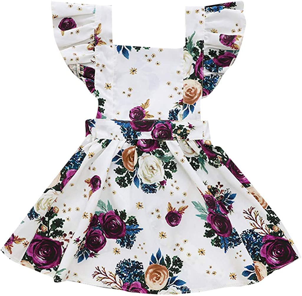 Baby Girl Summer Flower Dress 3-12 Years Toddler Little Big Kids Doll Collar Floral Sleeveless Skirt Casual Clothes