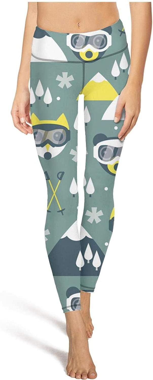 Lady Yoga Pants Ski Fox and Grizzly Bear Winter Tummy Hips Yoga Leggings with Pockets