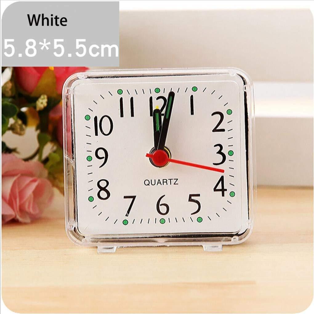blanc muet Ogquaton R/éveil pratique carr/é sans tic-tac; Petit r/éveil de voyage portable /à piles