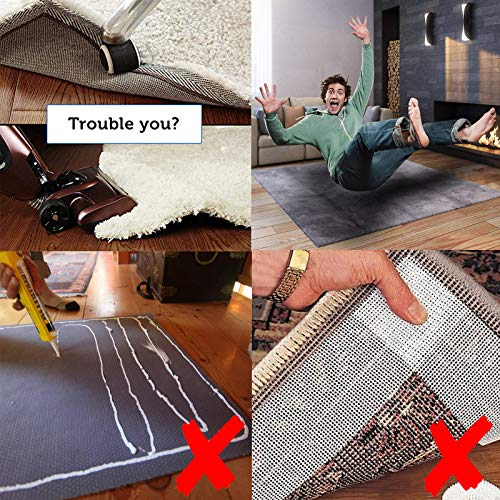Rug Grippers Carpet Stopper, 8Pcs Rug Anti-Clip Grippers 3M Strong Stickness for Rug Reusable Foam Glue for Floor, Anti Curling Carpet Gripper for Indoor Outdoor by Vencci (Image #1)