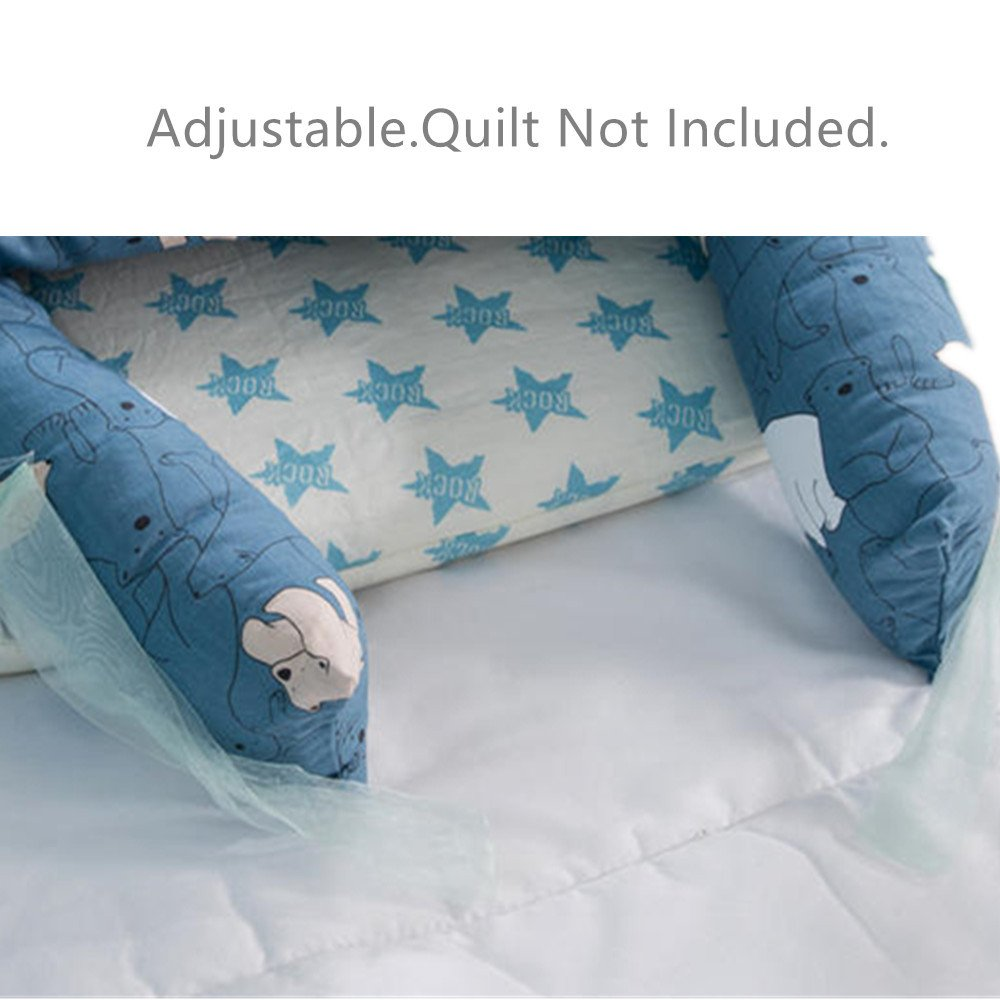 Squirrel Baby Lounger Breathable /& Hypoallergenic Co-Sleeping Baby Bed 100/% Cotton Portable Crib for Bedroom//Travel Abreeze Baby Bassinet for Bed