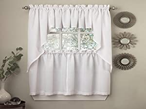 Sweet Home Collection Opaque Rib Cord Kitchen Curtains Swag Pair, Ribcord White