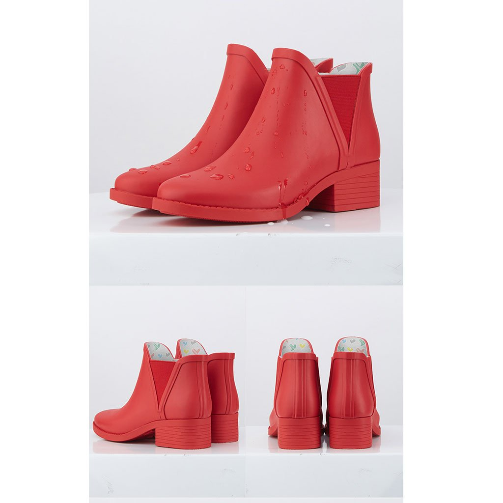 Dame Short Tube Regen Rutschfeste Stiefel Erwachsene Matte Gummi Wasserdicht Rutschfeste Regen Chelsea Regen Schuhe Für Regen Sunny Day (Farbe   Rot, größe   36) 1dc7bf