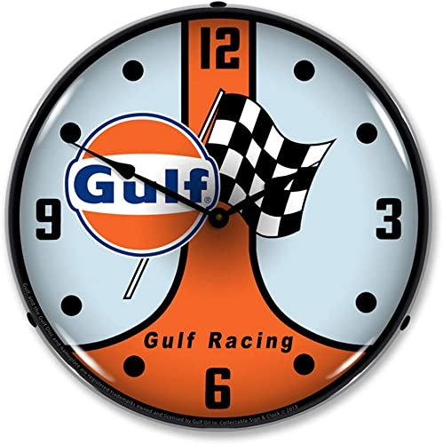 Gulf Racing GT40 LED Wall Clock, Retro Vintage, Lighted, 14 inch