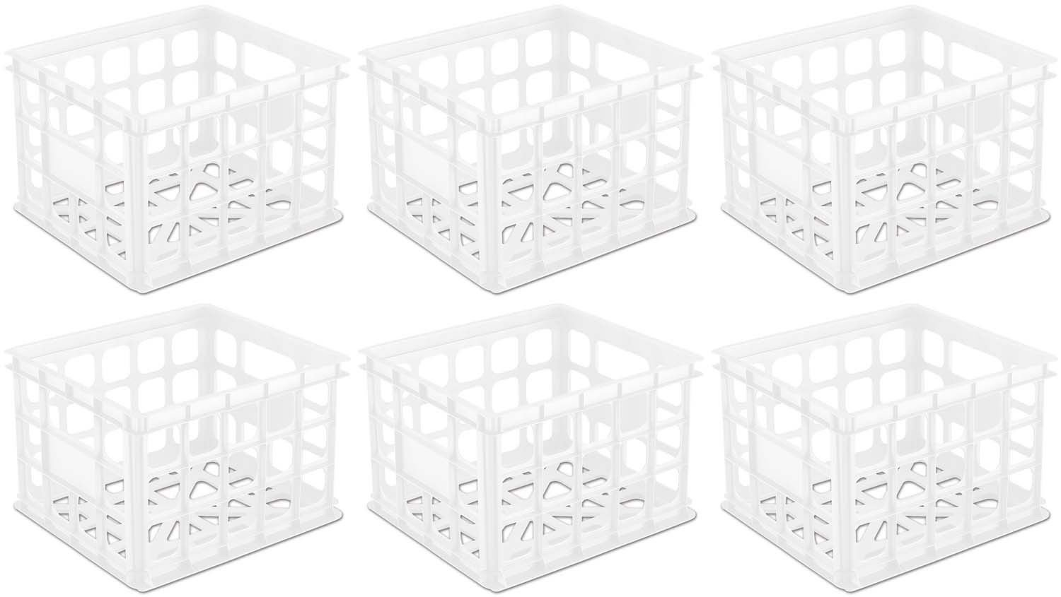 MRT SUPPLY 6 Pack Plastic White Storage Box Milk Crate Containers Home Ebook