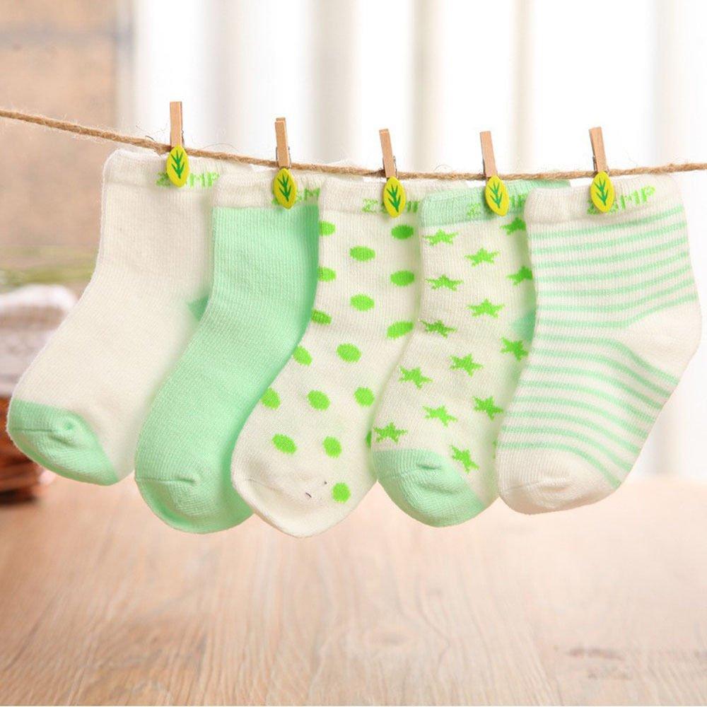 TheFound 5 Pairs Baby Girl Dots Socks NewBorn Infant Toddler Kids Soft Sock