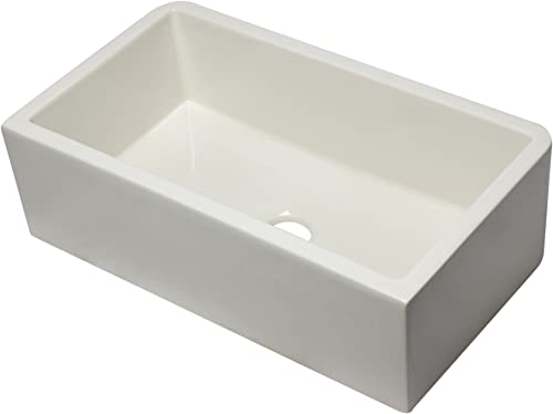 ALFI brand AB3318SB-B 33 Biscuit Smooth Apron Solid Thick Wall Fireclay Single Bowl Farm Sink