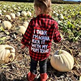 Kids Little Boys Girls Red Plaid Flannel Shirt Baby Letters Long Sleeve Button Down Clothes