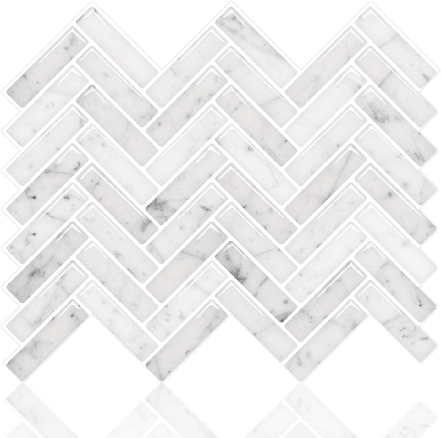 - STICKGOO Peel And Stick Tile Backsplash, Sky Marble Herringbone
