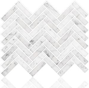 STICKGOO Premium Anti Mold Peel and Stick Tile Backsplash, Sky Marble Herringbone Adhesive Backsplash Tiles, Stick on Tiles for Kitchen & Bathroom (Pack of 5, Thicker Design)