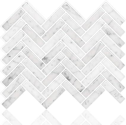 Vinilos Azulejos Decorativo Impermeable para Cocina y Ba/ño Azulejos Adhesivos 3D Pegatinas de Azulejos Auto-Adhesivo Blanco-10 Piezas 30.5cm*30.5cm STICKGOO Pegatinas de Baldosas Engrosadas