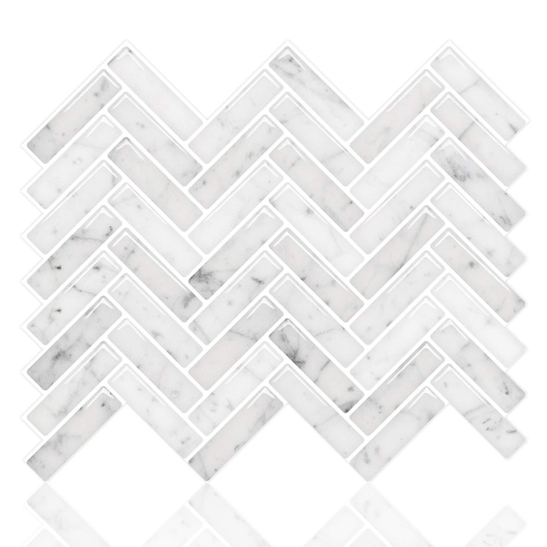 STICKGOO Peel and Stick Tile Backsplash, Sky Marble Herringbone Adhesive Backsplash Tiles, Stick on Tiles for Kitchen & Bathroom (Pack of 10, Thicker Design) by STICKGOO