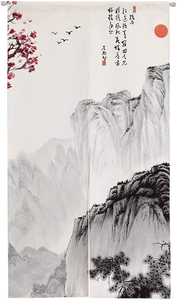 "Ofat Home Chinese Traditional Painting Doorway Curtain Marvelous Mountain Painting Cotton Linen Ink Painting 33.5""x 59"" Door Curtain for Home Decor"