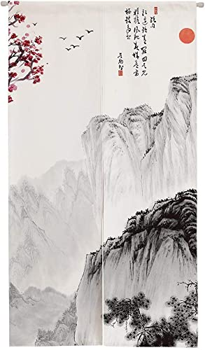 Ofat Home Chinese Traditional Painting Doorway Curtain Marvelous Mountain Painting Cotton Linen Ink Painting 33.5 x 59 Door Curtain for Home Decor