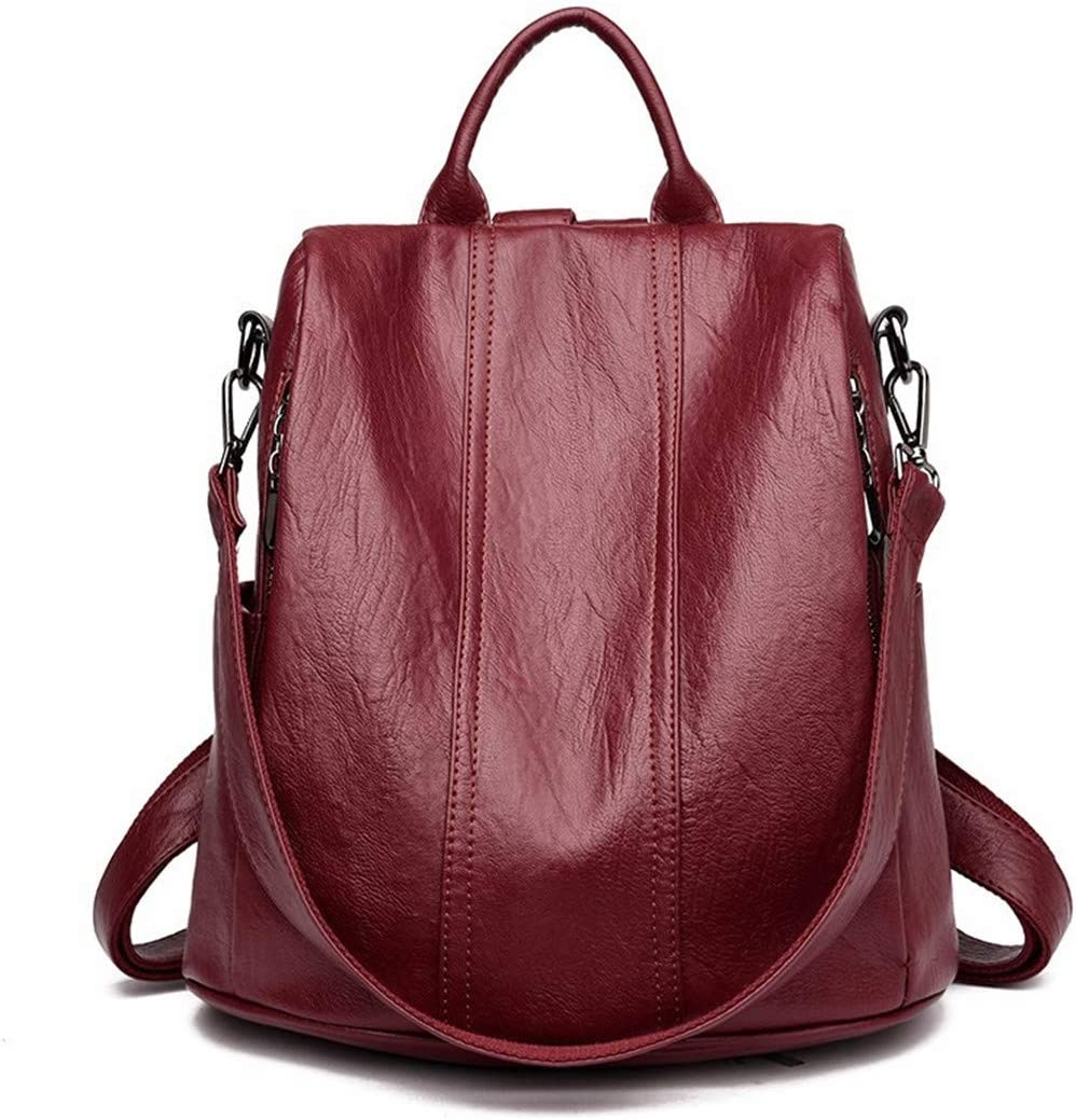 Female Leather Backpacks Ladies Bagpack School Bags For Girls Travel Large Capacity Back Pack Casual Daypack Winered