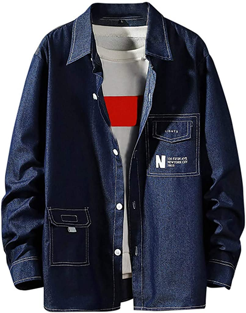 Mens Casual Blouse Fashion Patchwork Denim Lapel Pockets Long Sleeve Shirt Top Blouse by perfectCOCO