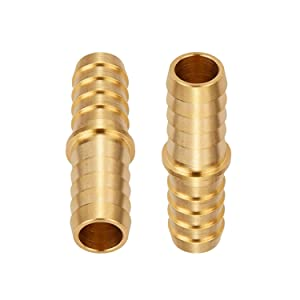 "Brass Hose Barb Reducer, 3/8"" to 5/16"" Barb Hose ID, Reducing Barb Brabed Fitting Splicer Mender Union Air Water Fuel (Pack of 2)"