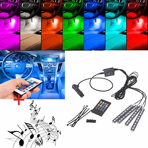 POSSBAY Multi-color 8 Color RGB Car LED Interior Underdash Lighting Kit with Sound Active Function and Wireless Remote Control (Led Car Underdash Lights compare prices)