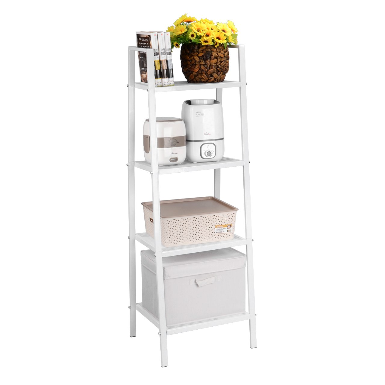 SortWise Heavy Duty Metal Ladder Shelf Bookshelf Bookcase Leaning Storage Rack A Frame Corner Display Plant Shelving Balcony Multiple Flower Pot Storage (3 Tier)