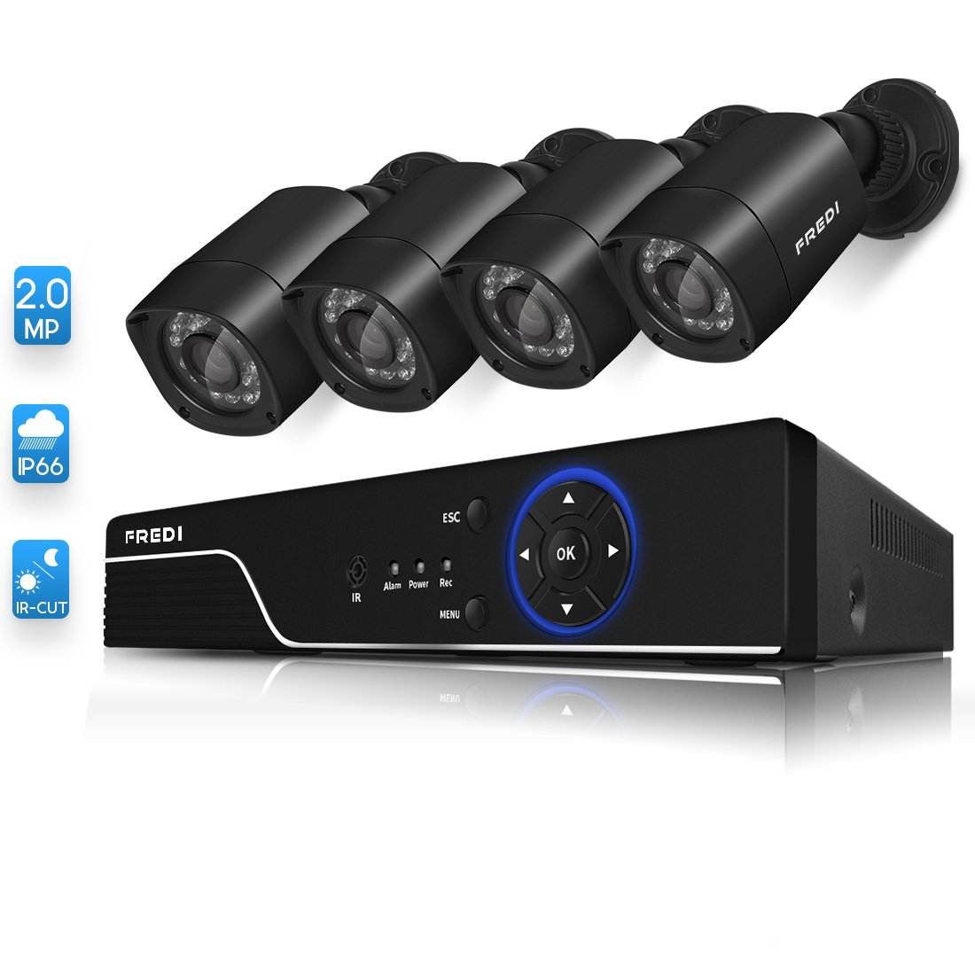 FREDI Security Camera System 8-Channel HD-TVI 1080P Lite Video Security System DVR and (4) 1.0MP Indoor/Outdoor Weatherproof Cameras with IR Night Vision LEDs- Without HDD by FREDI (Image #2)