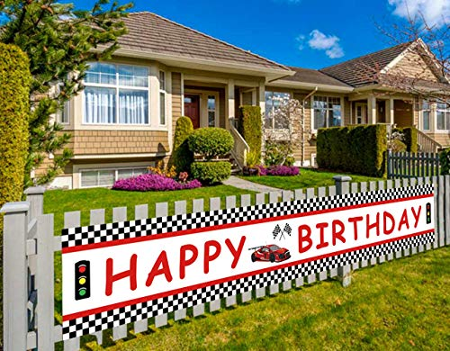 Lager Race Car Happy Birthday Banner, Red Racing