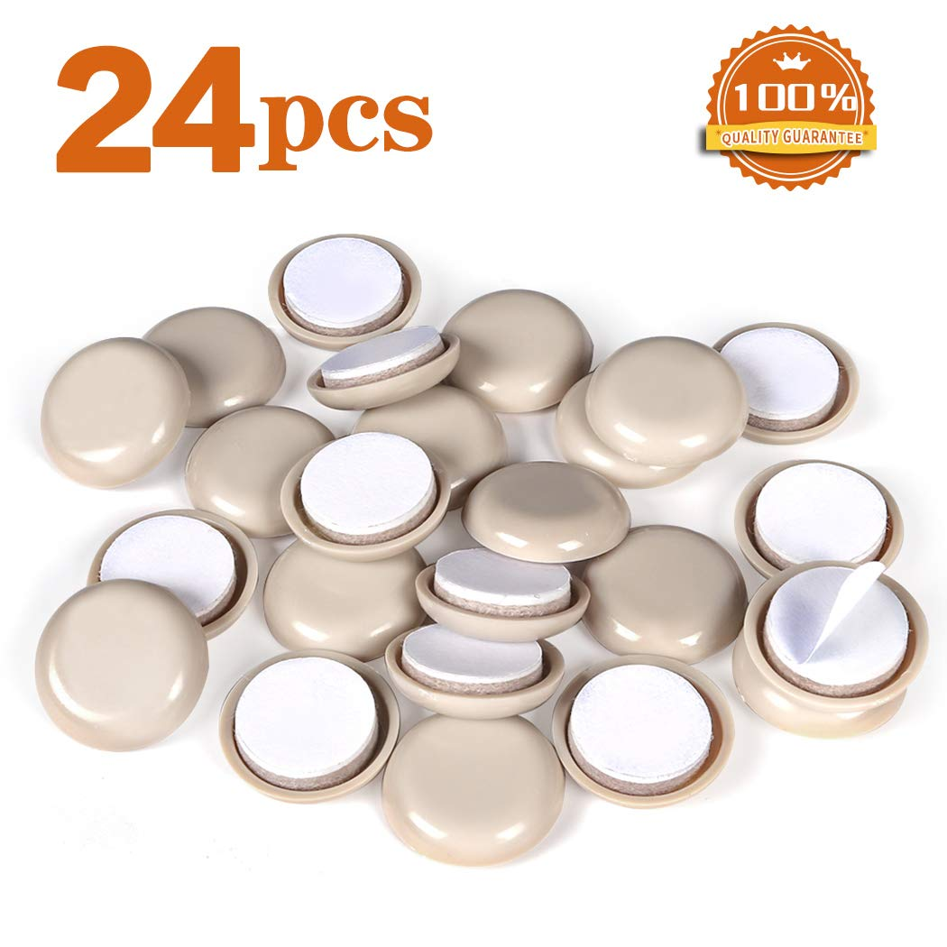 24 Pieces Self-Adhesive Furniture Sliders 1-1/6 Furniture Gliders Moving Pads for Carpet Adhesive Chair Sliders WEWAN