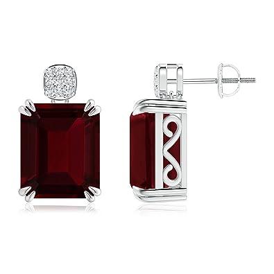 Angara Screw Back Garnet Cocktail Earrings in Platinum xlb6b