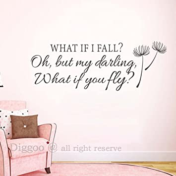 Amazoncom Inspirational Wall Decal Quote What If I Fall Oh My