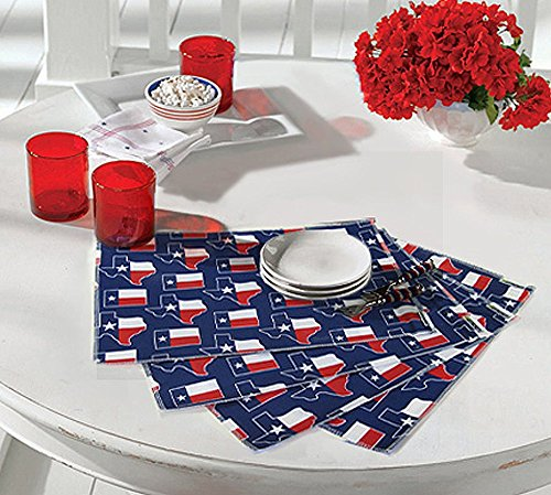 Broad Bay Texas Flag Placemats 4pc Set Limited Edition Place Mats for Dinner, Kitchen or Tailgating Gift IDEA for Mom Father Him Her