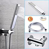 cool looking shower heads Brass handheld shower head set with high pressure single function hand shwoerhead,Adjustable shower holder Mount and 71 inches Non-Toxic PVC Flexible HandShower Head Hose for Bathroom Rain Shower