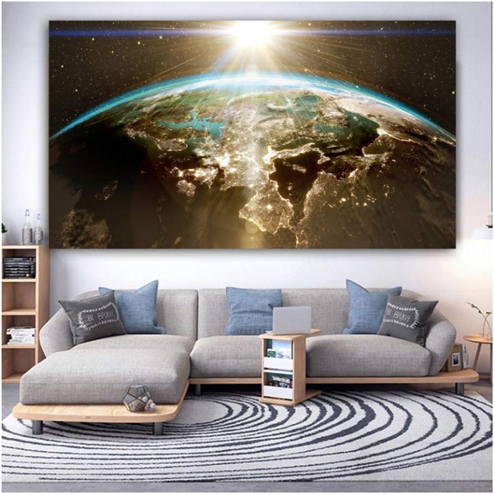 Paisaje impresión pared arte tierra universo estrellas lienzo pintura pared cuadros para sala de estar decoración del hogar -60x100cm sin marco