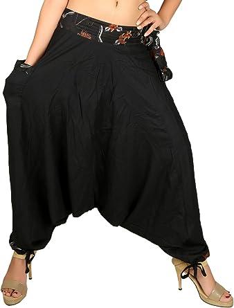 Women Mens Harem Pants Yoga Japanese Style Baggy Hippie Genie Wide Leg Trousers Black