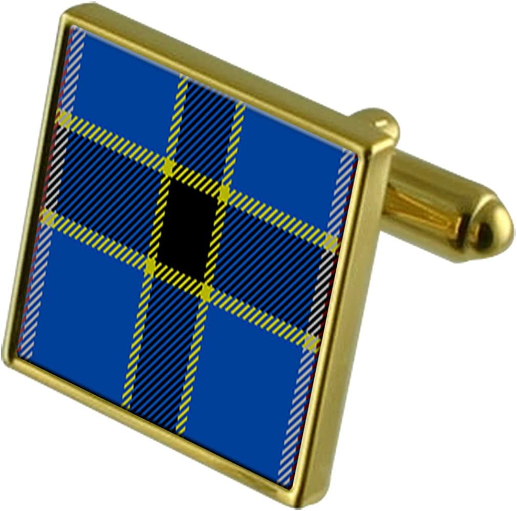 Select Gifts US State Tartan Oklahoma Gold Cufflinks