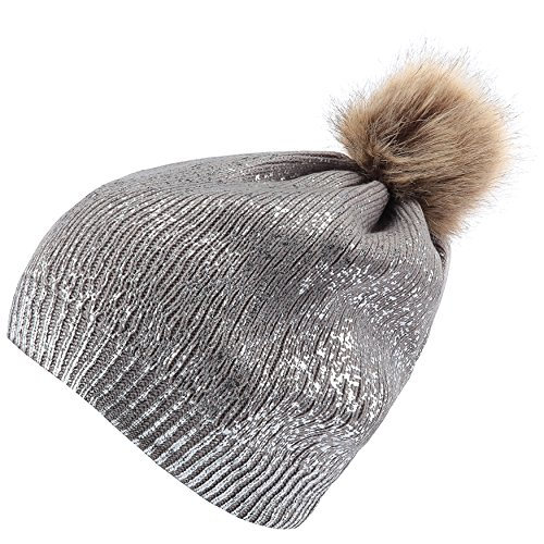 b488e651 Thick Sparkly Knit Hat Metallic Shine Faux Fur Pom Pom Slouch Beanie Hats  Black Gold at Amazon Women's Clothing store: