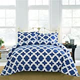 3 Piece Navy White Moroccan Trellis Down Alternative Comforter Full Queen Set, Elegant Modern Blue Geometric Print Reversible Bedding Hippie Textured Design, Bohemian Style, Solid Colors, Polyester