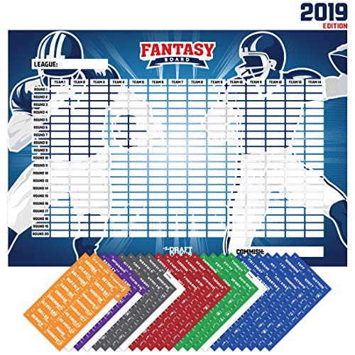Joyousa Fantasy Football Draft Board 2019 Kit with Player Labels - Full Color Extra Large - 14 Teams and 480 Name Stickers