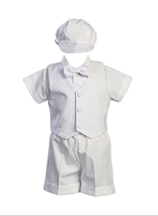 aabe63d66 Poly Cotton Christening Short Set with Basket Weave Veast and Hat - Size XS  (0